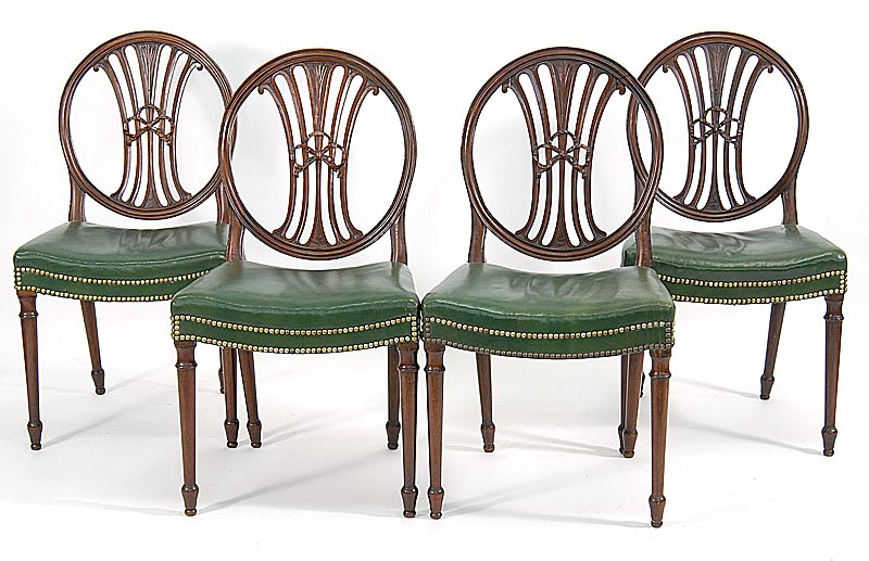 FOUR ANTIQUE ENGLISH SHERATON SIDE CHAIRS Late 18thEarly 19th Century, Lot  394, Eldred's, - ARTLINKGLOBAL » FOUR ANTIQUE ENGLISH SHERATON SIDE CHAIRS Late